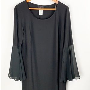 MSK Midi Dress Black Sheer Bell Sleeve Size 1X